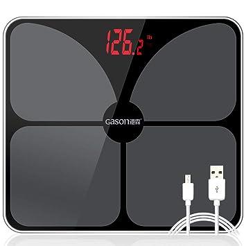 Carga por USB Báscula de baño Escala del cuerpo Inteligente Electrónico Exacto Digital Peso Peso Piso Balance de casa Pantalla LED de cristal 180 kg: ...
