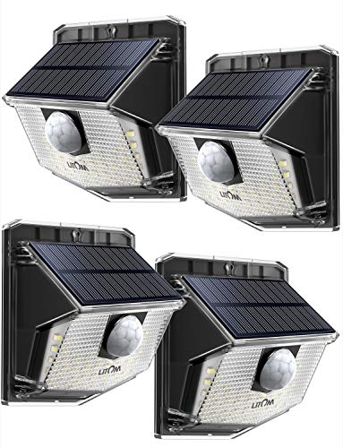 - LITOM Solar Lights Outdoor, IP67 Waterproof Solar Motion Sensor Light with 270° Lighting Angle, Wireless 30 LED Solar Powered Security Wall Lights for Patio,Yard,Garage,Garden,Stairs,Driveway 4 Pack