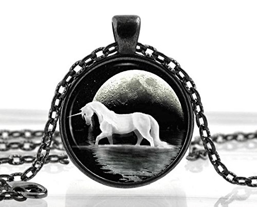 Black Unicorn Necklace Pendant – Fantasy White Horse Moon Jewelry