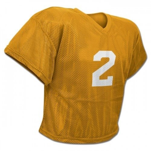CHAMPRO New FJ2Y Mesh Waist Length Football Youth Practice Jersey Gold (YL/XL) (Youth Waist Length Football Jersey)