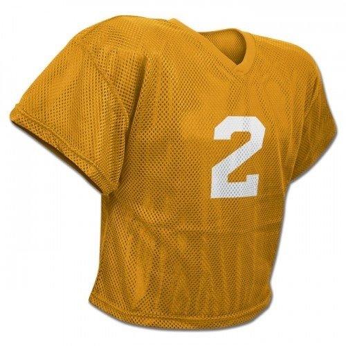 Youth Waist Length Football Jersey - CHAMPRO New FJ2Y Mesh Waist Length Football Youth Practice Jersey Gold (YL/XL)