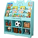 Byx- Multi-Layer Environmental Protection Board Children's Bookshelf Reading Book Picture Book Display Stand 100X28X120cm/white/Green/Pink/Blue -Book Shelves (Color : Blue)