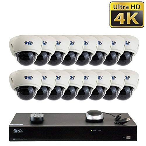 2020 New16 Channel H.265 PoE NVR Ultra-HD 4K (3840x2160) Video & Audio Security Camera System with 16 x 4K (8MP) Microphone IP Dome Camera, 100ft Night Vision, Waterproof Surveillance Camera, 4TB HD