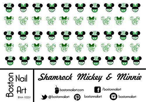(Shamrock Mickey & Minnie - Waterslide Nail Decals -)