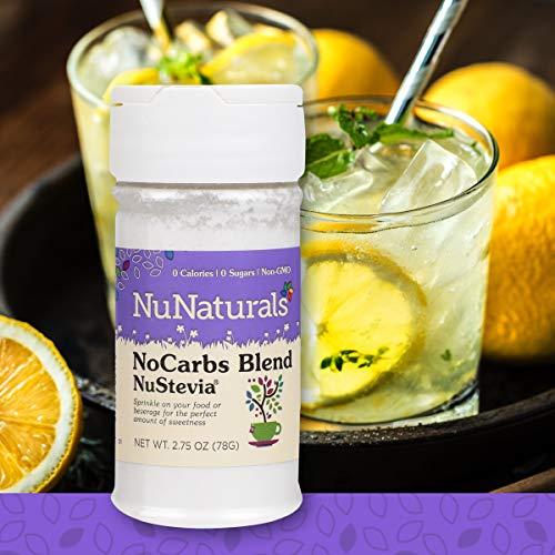 NuNaturals NoCarb Blend Powder All Purpose Natural Sweetener, Zero Calorie, Sugar-Free, 156 Servings, (2.75 oz)