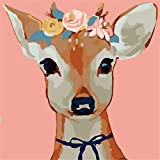 cross stitch ready to make - YEESAM ART New Paint by Numbers Kits for Kids, Diy Oil Painting - Colored Deer Face 25X25cm - Framed, Christmas Gifts