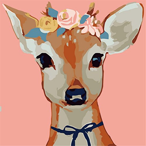 YEESAM ART New Paint by Numbers Kits for Kids, Diy Oil Painting – Colored Deer Face 25X25cm – Framed, Christmas Gifts