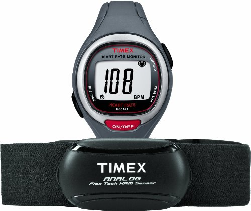Timex Unisex T5K729 Easy Trainer Analog HRM Flex Tech Chest Strap & Mid-Size Gray/Red (Analog Round Timepieces)