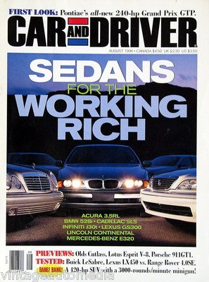 Car and Driver, Sedans for the Working Rich - August 1996