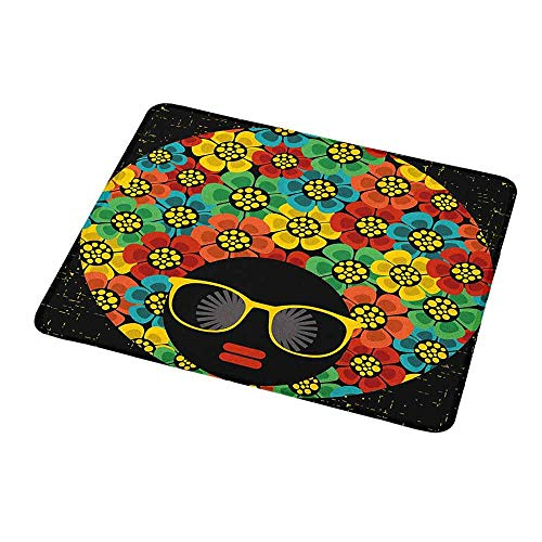 Gaming Mouse Pad Customized 70s Party,Abstract Woman Portrait Hair Style with Colorful Flowers Sunglasses Lips Graphic,Custom Design Gaming Mouse Pad -