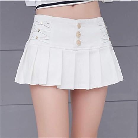 DAHDXD Negro Lápiz Blanco Plisado Micro Mini Falda Mujeres Moda de ...