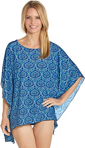 Coolibar UPF 50+ Women's Beach Poncho - Sun Protective (X-Large- Blue Moroccan Mosaic)