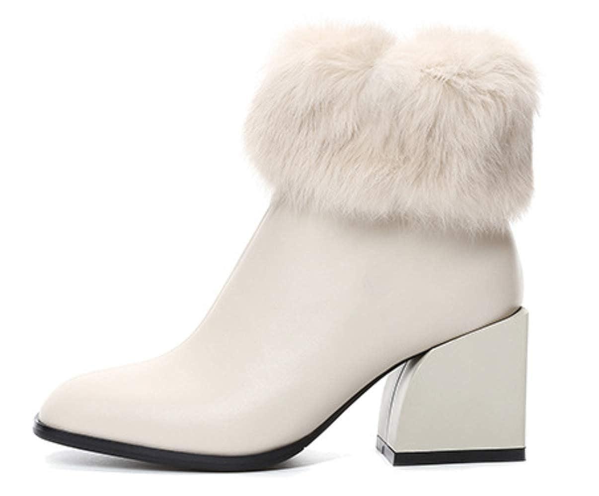 Shiney Damen High Heel Leder Stiefelies Weiblicher Reißverschluss Chunky Chunky Chunky Heel Plus Samt Martin Stiefel 5e0184