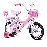 Bicycle Bike Kids 2-11 Year Old Girls Children's Toddlers Baby Student Adjustable Seat Handlebars Non-slipTyres High-carbon Steel Female Comfortable Safe Brake Princess Models Bike,Pink-20Inches