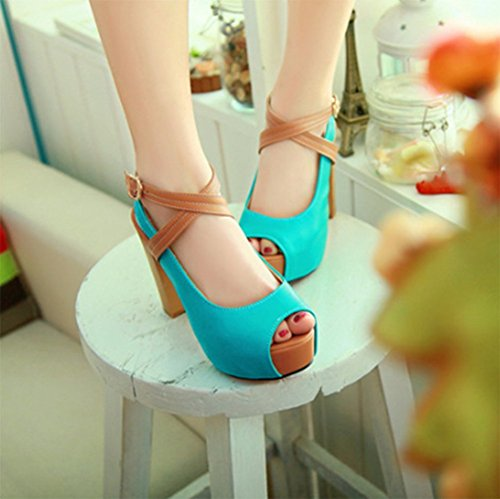 CHFSO Womens Peep Toe Ankle Cross Strap Buckle Sandals Shoes Color Block Blue 2eKUY5wlRd