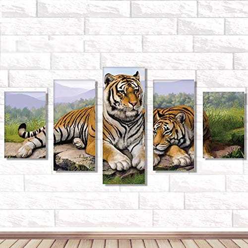 - lyna2D6 5Pcs 95x45cm Tiger Pattern Cross Stitch DIY Full Round Diamond Painting Decor
