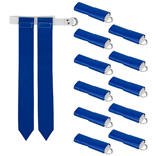 12-Pack Flag Football Team Set – Includes 12 Belts with 24 Flags, Accessories for Flag & Touch Games, Practices, & Training by Crown Sporting Goods (12 Blue) ()