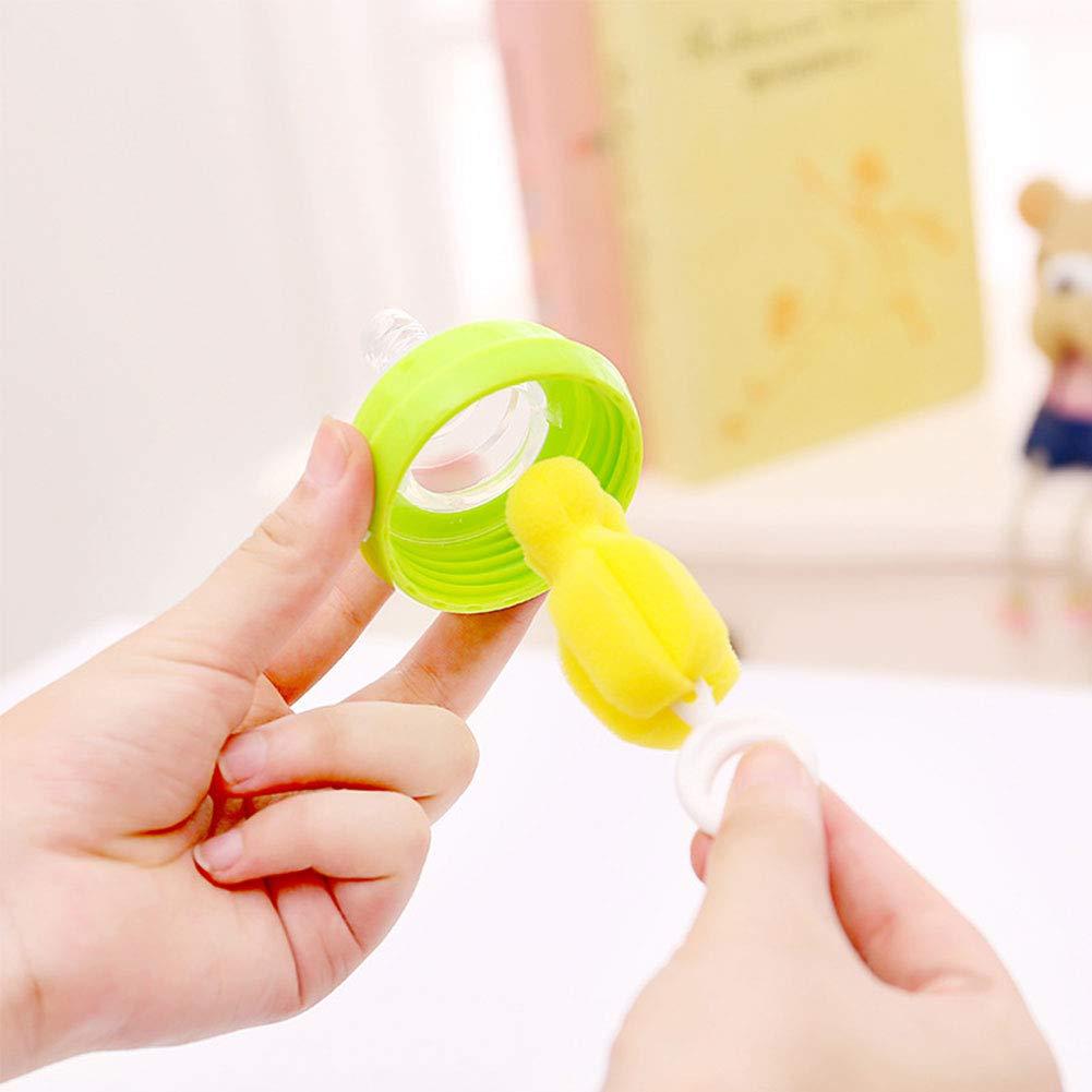 Schlauch zum Reinigen Quanjucheer 4-teiliges Set f/ür Babys Milchflaschen B/ürste Schwamm und Schnuller