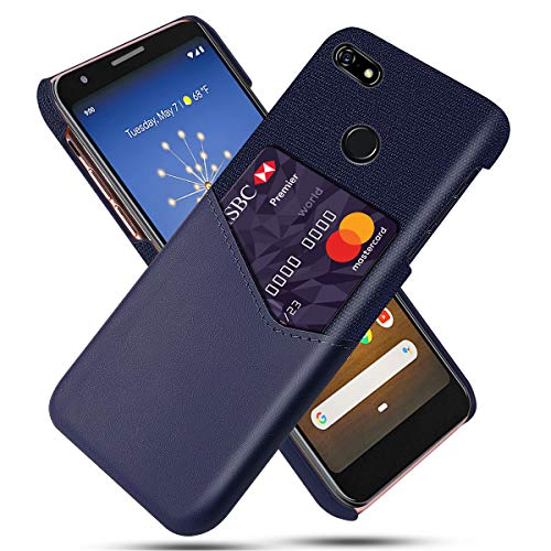 Totoose Case for Google Pixel 3a, [2019] Leather Wallet Case PU Leather and Soft Fabric Splicing Design Protective Phone Case [Card Slot] Anti-Scratch Cellphone Case for Google Pixel 3a - Purple