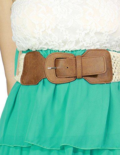 Fandsway Womens Lace & Layered Flowy Bottom Leather Belt Tube Dress (MEDIUM, MINT)