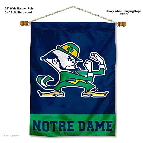 College Flags and Banners Co. Notre Dame Fighting Irish Leprechaun Logo Banner with Hanging Pole