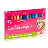 Ofanyia 12 Colors Hair Chalk Set Hair Dyeing Colors Non-Toxic Washable Temporary Color Hair Chalk for Party Cosplay