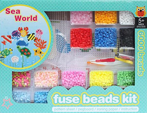 ART:EGO ™ - Fuse Beads Kit - Intelligent Toys Sea World - R-5mm Box Set - Includes 6,000 Beads, Pegboard, Tweezer, Pattern, Ironing Paper, Instruction and Accessories - Perfect Craft for Kids