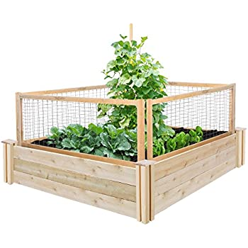 Greenes Fence Cedar Raised Garden with CritterGuard Fence System, 48 by 48 by 10.5""