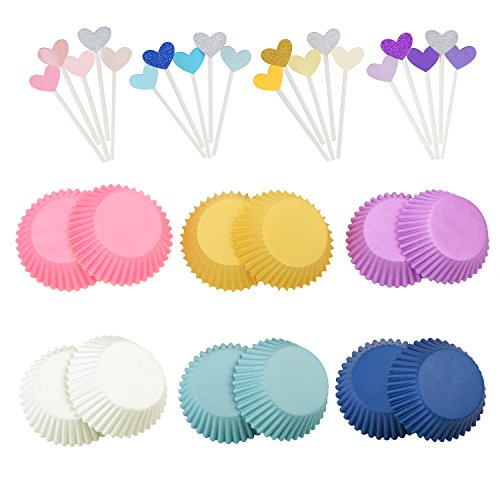 300pcs Standard Baking Cups & 20pcs Heart Shape Cupcake Picks,Macaron Colors Sweet Design for Decorating Wedding/Birthday Cupcake Decorate That Special Birthday Cake