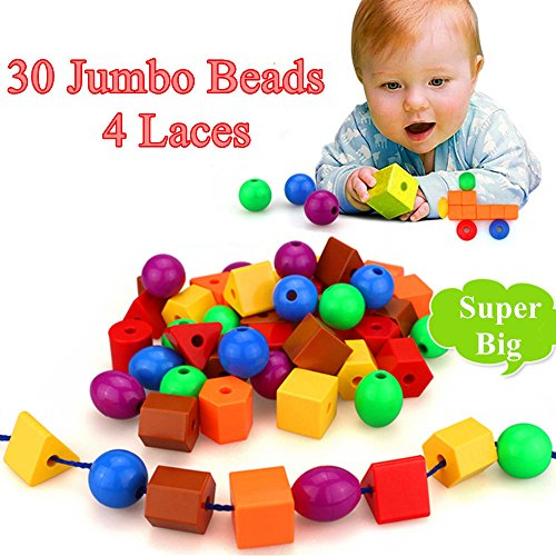 JUMBO PRIMARY STRINGING BEAD SET with 30 Biggest Lacing Beads in the Market and 4 Laces ,for Toddlers and Babies, 4 Strings,Occupational Therapy