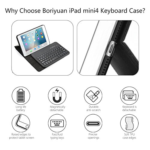 Boriyuan iPad Mini 4 Keyboard Case iPad Mini Smart Case Stand Folio Leather Cover with Detachable Wireless Bluetooth Keyboard and Screen Protector for Apple iPad Mini 4(Model:A1538/A1550) - Black by Boriyuan (Image #1)
