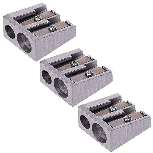 - Pencil Sharpener Metal with Double Hole Manual for 6mm and 8mm Pencils,Pack of 3
