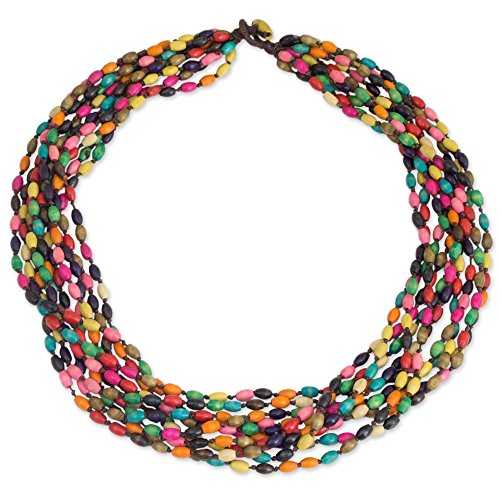 NOVICA Multicolored Beaded Wood Torsade Layered Necklace 'Songkran Belle', 25.5