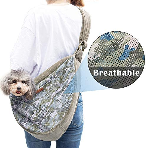 HALOViE Pet Sling Carrier, 15 Lb Breathable Mesh Dog Sling Carrier, Hands Free Adjustable Strap Zipper Pet Pack Front Sling Travel Shoulder Bag for Small Tiny Dogs Cats Under 15lb