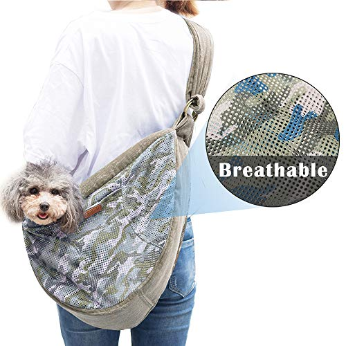 HALOViE Pet Sling Carrier, 15 Lb Breathable Mesh Dog Sling Carrier, Hands Free Adjustable Strap Zipper Pet Pack Front Sling Travel Shoulder Bag for Small Tiny Dogs Cats Under 16lb