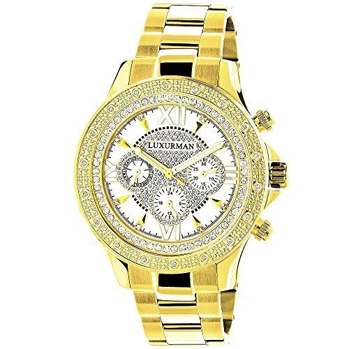 LUXURMAN Yellow Gold Tone Mens Diamond Watch 0.2ct