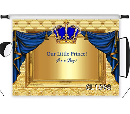 LB Royal Prince Backdrops for Photography 9x6ft Boys Newborn Birthday Party Baby Shower Backdrop Gender Reveal Blue Gold Crown Background Photo Booth Studio Props Vinyl Customized CL1098 -