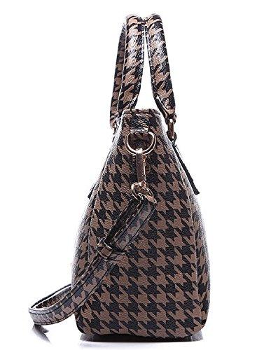 Damen Handtasche Umhängetasche Hahnentritt Tasche Schultertasche Vintage