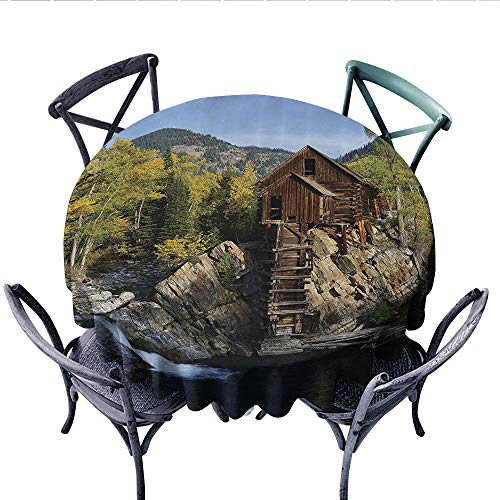 (Lake House Decor Collection Dinner Picnic Table Cloth Secluded Wooden Cabin in the Woods River Waterfall Forest Nature Mill Mountain Pine Trees Round Wrinkle Resistant Tablecloth (Round, 36 Inch, Muli)