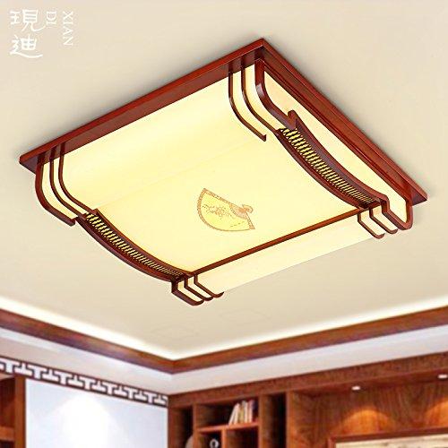 BLYC- Fernbedienung helle moderne neue chinesische Decke Schlafzimmer Beleuchtung quadratisch Massivholz, Runde LED Beleuchtung Wohnzimmer Schlafzimmer Esszimmer 550 * 120mm 650 mm * 120 mm , 650mm-led