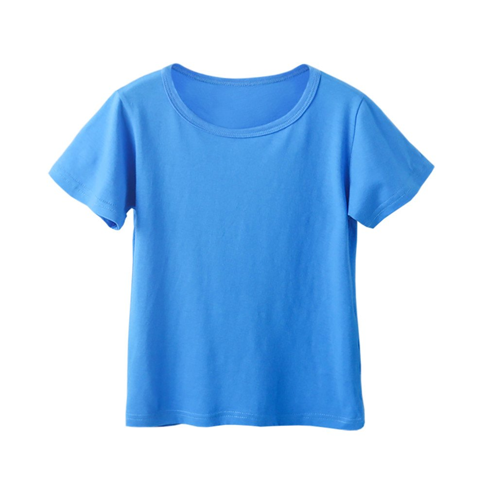 Kids Cheap T Shirts,Boys Solid Candy Color Tee Tops Little Girls T Shirts Pajama Shirts.(Blue,110) by Wesracia (Image #1)