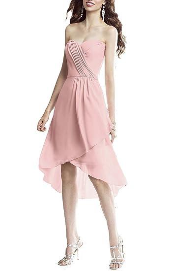 Emmani Hi-Lo Medium Zipper Sweetheart Sleeveless New Chiffon Homecoming Celebrity Prom Party Wedding Bridesmaid