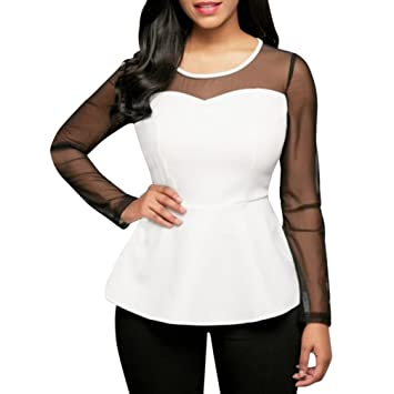 fheaven verano Tops Lady para mujer O-Neck Camiseta de malla de manga larga Casual