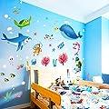 Vacally Colorful Wall Stickers Wall Decor Wallpaper Fish Shark Ocean Vinyl Decal Mural Kid's Room Bedroom Decor