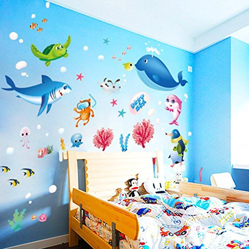 Vacally Colorful Wall Stickers Wall Decor Wallpaper Fish Shark Ocean Vinyl Decal Mural Kid's Room Bedroom -