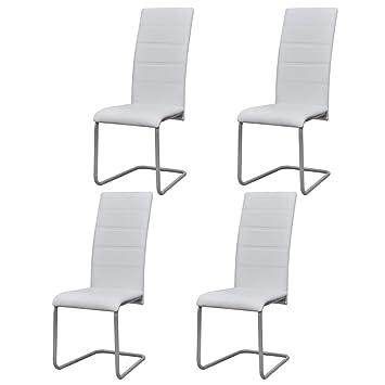 vidaXL 4X Sillas de Salón Comedor Voladizas de Cuero Sintético y Acero Blancas
