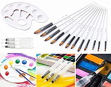 3//6x Fine Nylon Hair Paint Brush Set for Watercolor Acrylic Oil Painting Brushes