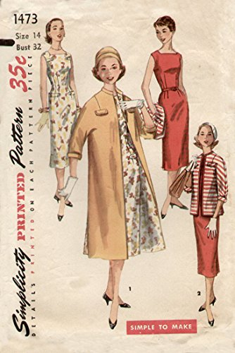 Simplicity 1473 Misses Wiggle Sheath Coat Jacket and Dress Vintage Sewing Pattern, Check Listings for Size ()