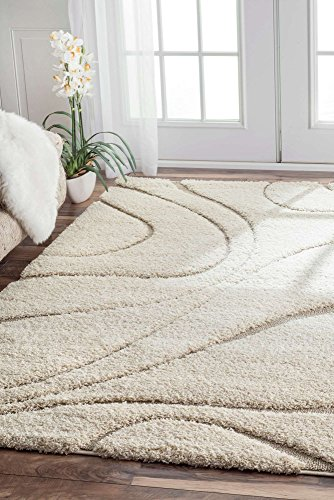 Shag Area Rug Contemporary Design 4x6 Cream Beige Ornaments Style Shaggy Living Area Soft Mats Small Extra Large Size Rugs (4' x 6' Rectangle)
