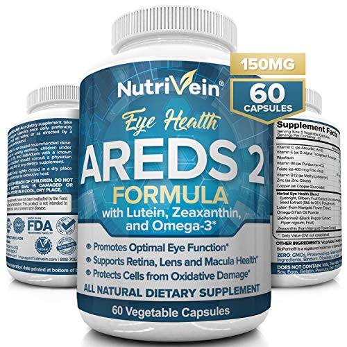 Nutrivein AREDS 2 Eye Vitamins – Supports Eye Strain, Dry Eyes – Award Winning Lutein and Zeaxanthin Plus Bilberry Extract – All-Natural Eye Health Booster Supplement for Adults, Kids, Men and Women